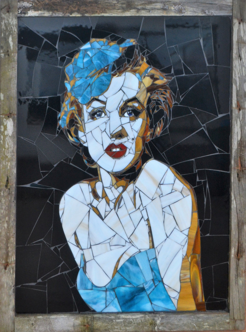 Marilyn  Danielle Fernandez, pop-art stained glass mosaic, framed in native totara, 910mm x 680mm  $5,900.00
