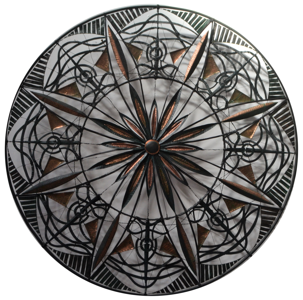 Play on Eight  Rudy van der Pol, copper and wire wall hanging, 1030mm diameter  $5,200.00