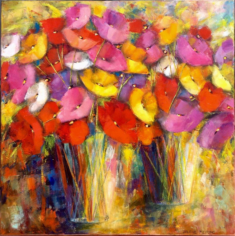 Blooming Beauty II  Dalene Meiring, oils on canvas, 1020mm x 1020mm  $3,900.00