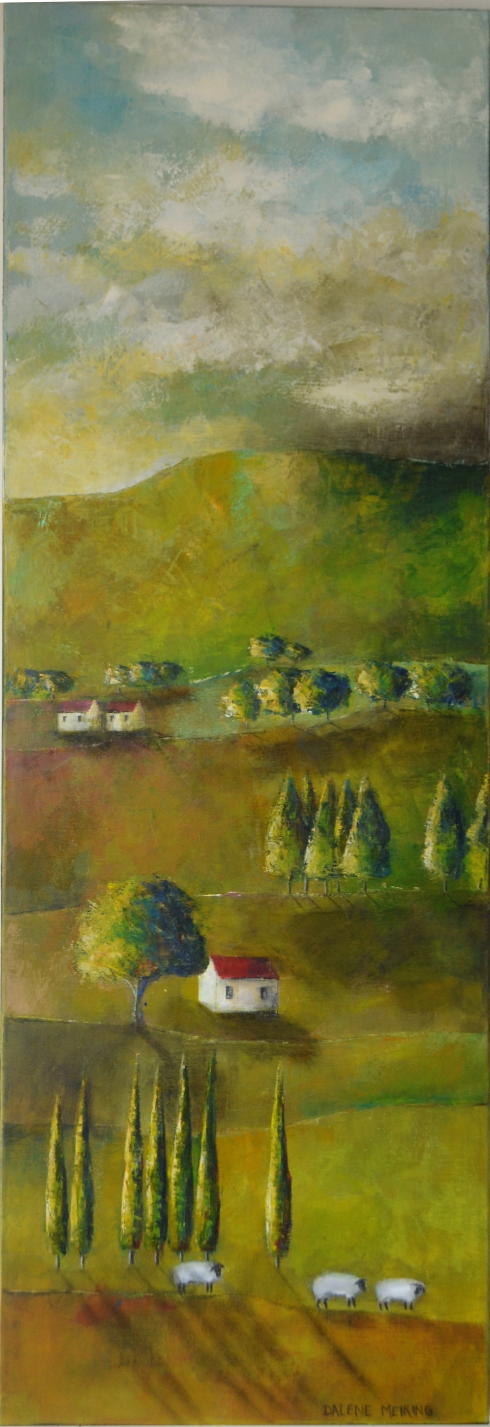 Sunday Afternoon (click to extend)  Dalene Meiring, oils on canvas, 1525mm x 505mm  sold