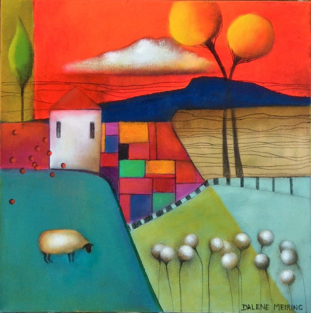 Manicured Garden   Dalene Meiring, oils on canvas, 500mm x 500mm  $1,200.00