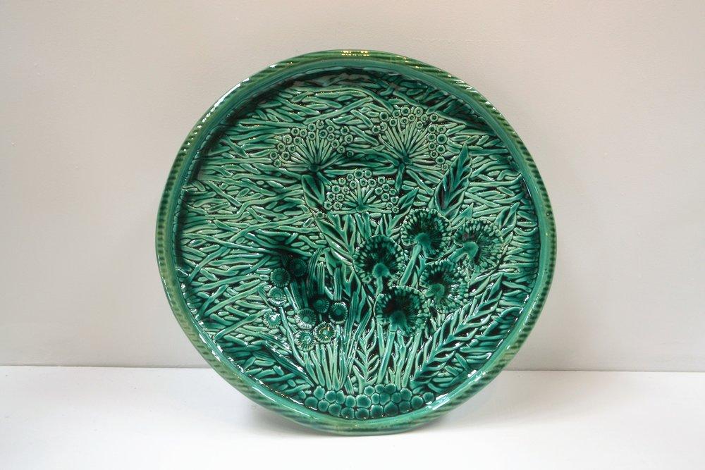 Green Garden Platter  Tom Sommerville, glazed and fired ceramic  sold