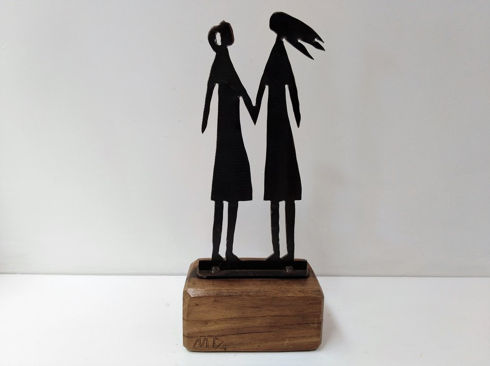 Women - On the Beach Series   Mark Dimock, steel and wood sculpture, 350mm h  out of stock