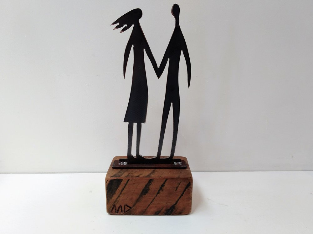 Man & Woman - On the Beach Series   Mark Dimock, steel and wood sculpture, 350mm h  out of stock