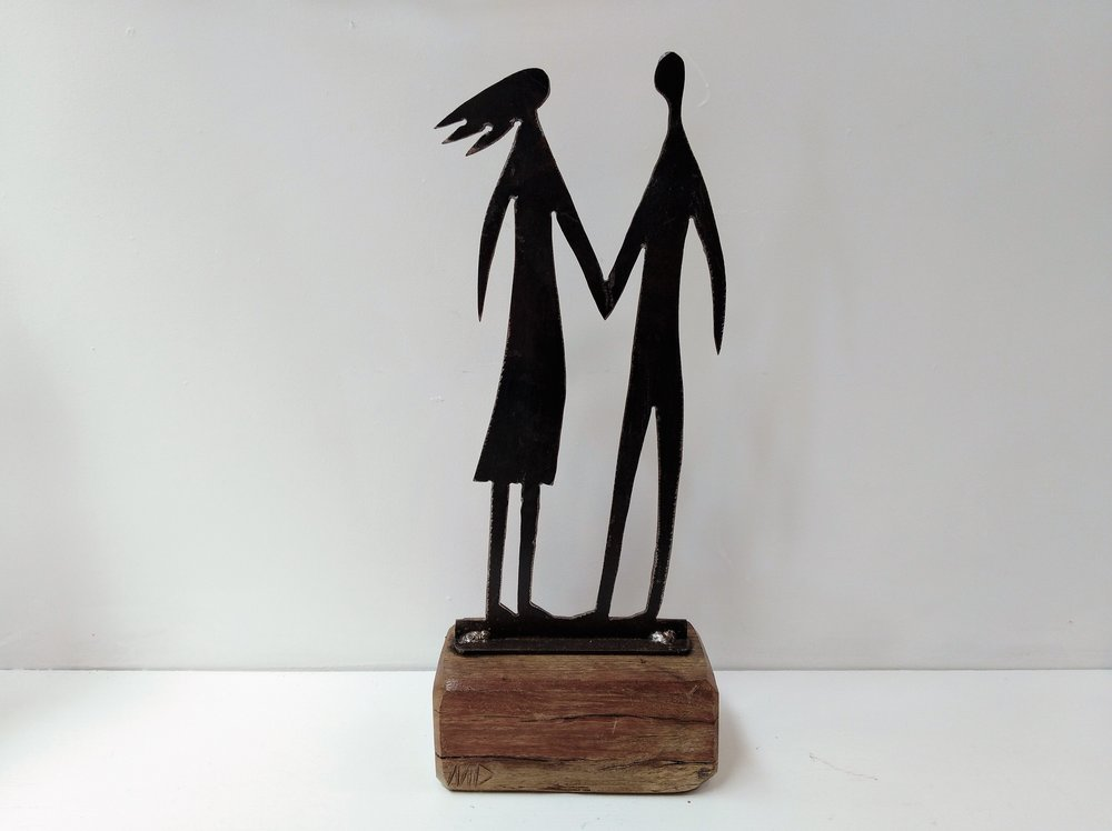 Medium Man & Woman - On the Beach Series  Mark Dimock, steel and wood sculpture, 430mm h  sold