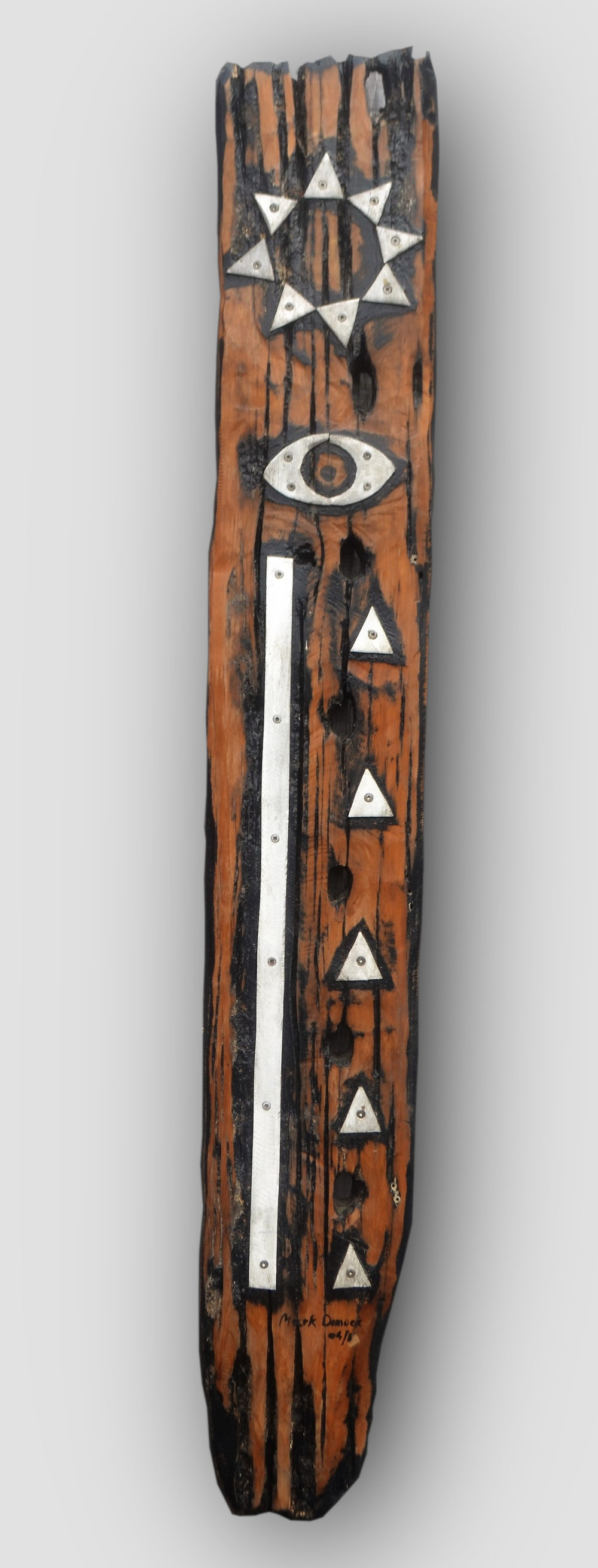 Eye Rune (click to extend)  Mark Dimock, steel on wood, hanging outdoor wall sculpture, 250mm x 1430mm  $995.00