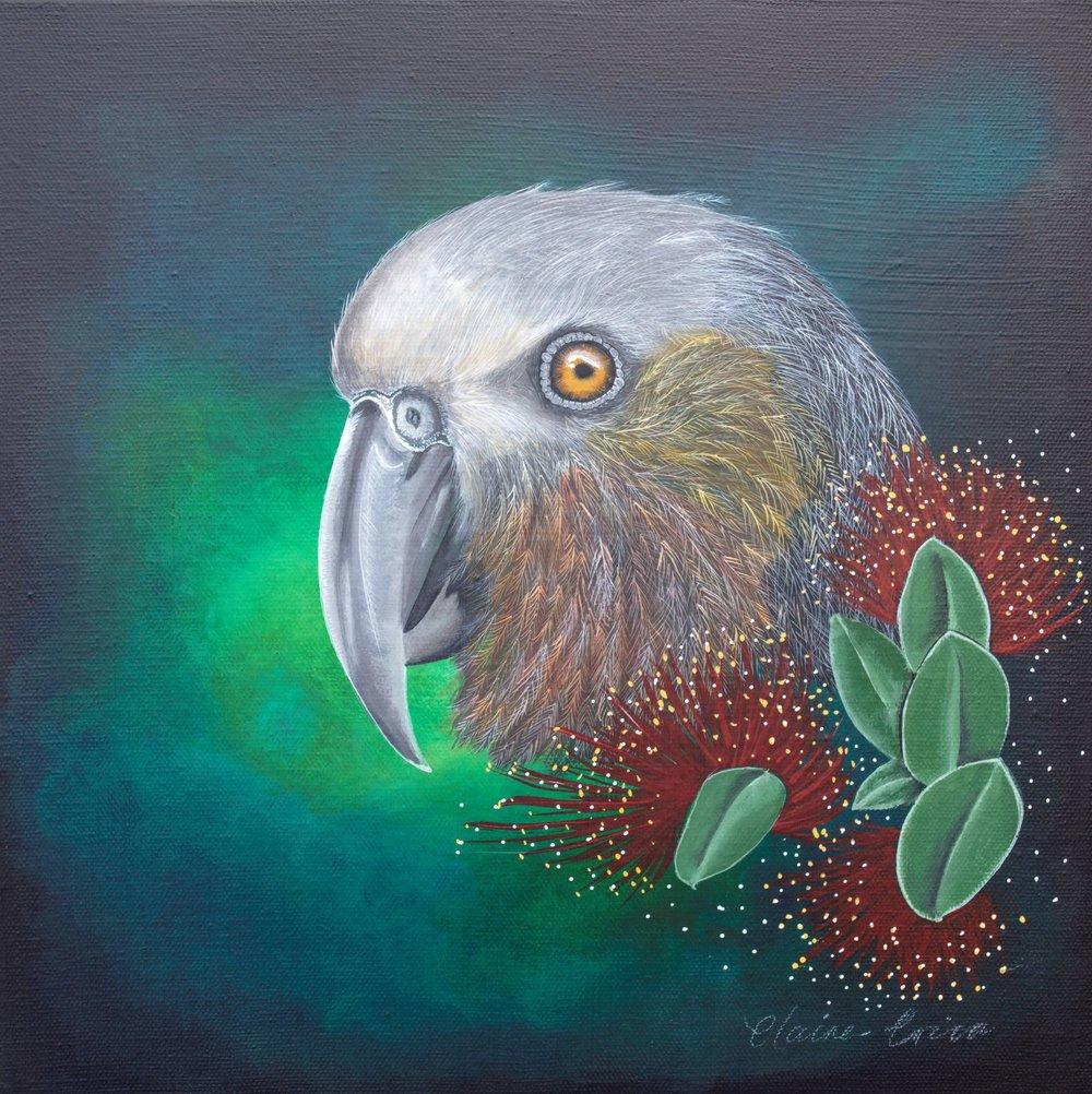 Make It Pretty Kaka  Claire Erica, acrylic on canvas, 300mm x 300mm  $590.00