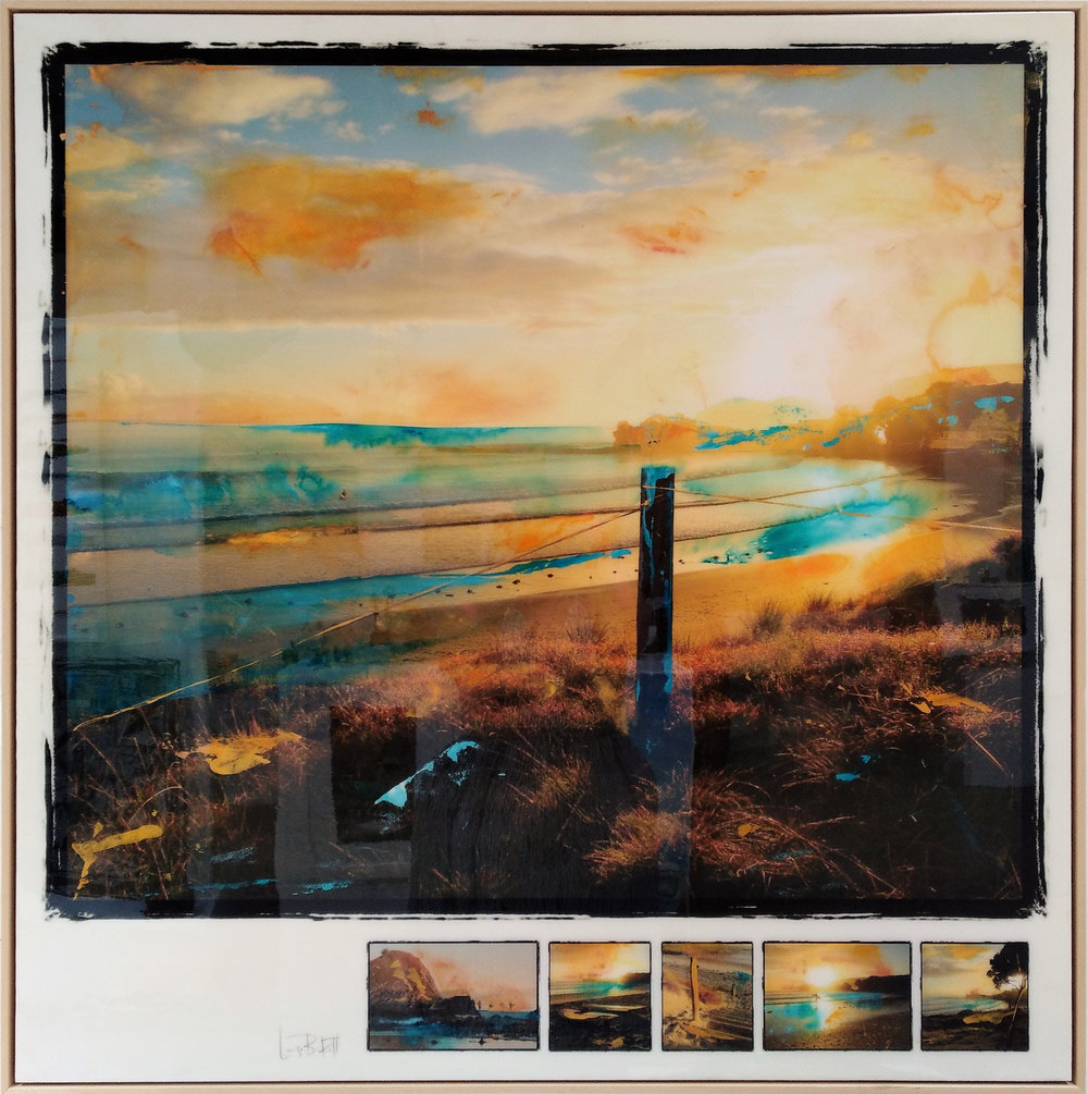 Tawharanui II  Louise Berkett, photograph & acrylic with resin finish, framed in beech, 1180 x 1190mm  sold