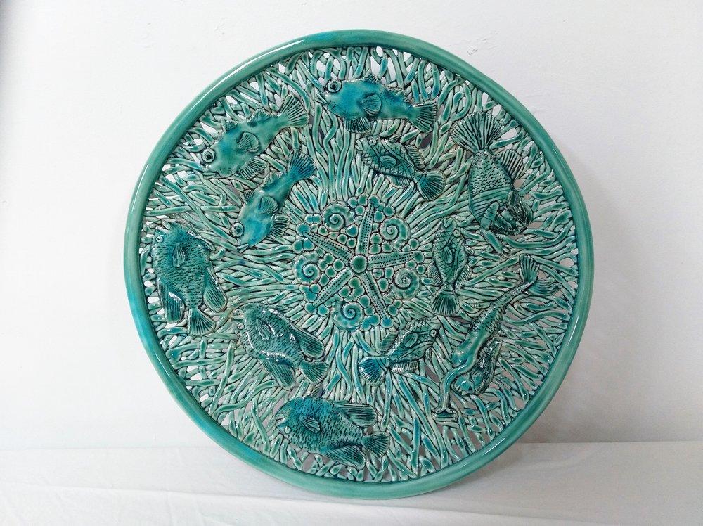 Merman & Mermaid Platter  Tom Sommerville, glazed and fired ceramic  sold