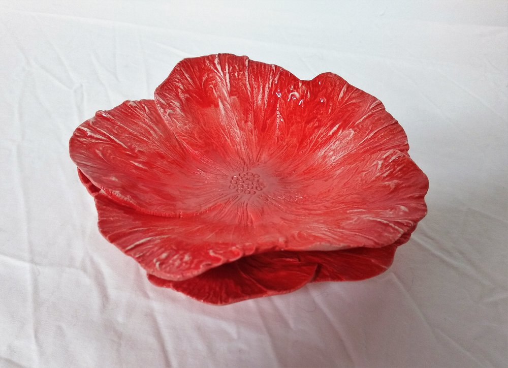 Small Pinky Flower Plate (two available)  Tom Sommerville, glazed and fired ceramic $49.00  1 available