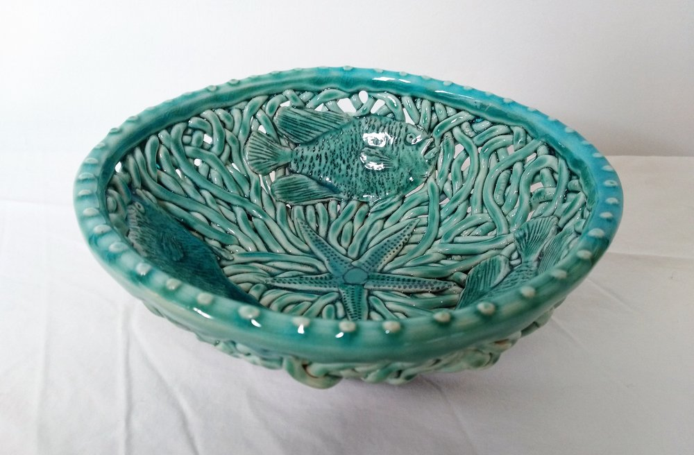 Aqua Fish Small Bowl I  Tom Sommerville, glazed and fired ceramic  $175.00