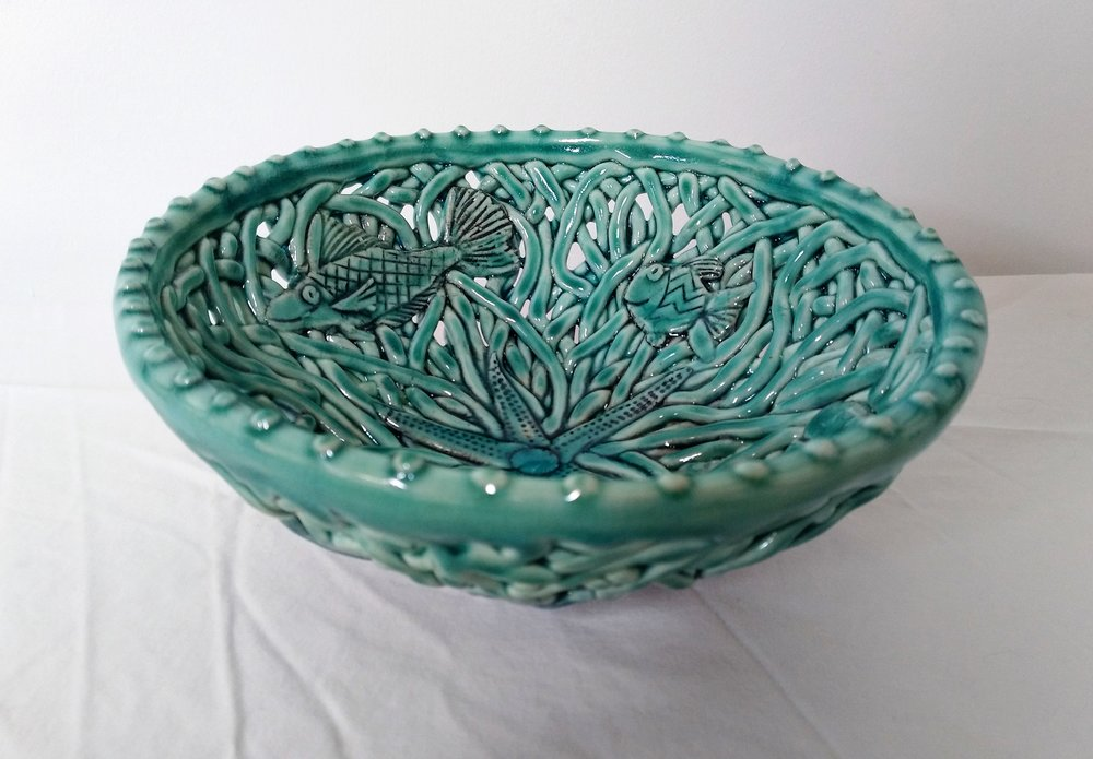 Aqua Fish Small Bowl II  Tom Sommerville, glazed and fired ceramic  $175.00