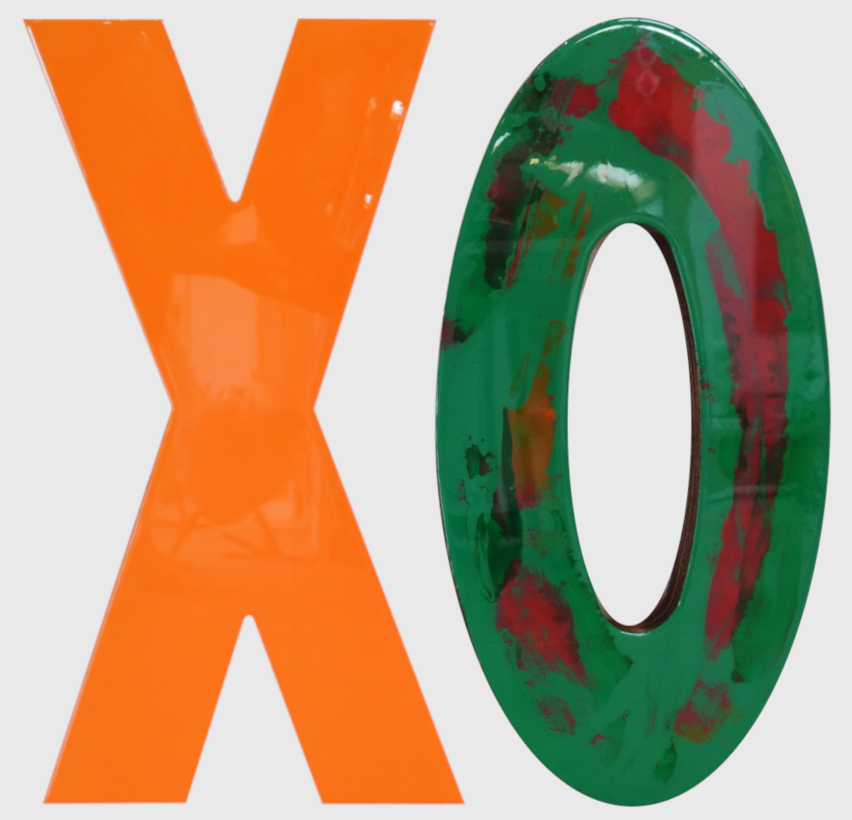 Hugs & Kisses from Venice - Orange  Wendy Hannah, recycled tables + acrylic + resin wall hangings, 660mm x 325mm (each)  $990.00