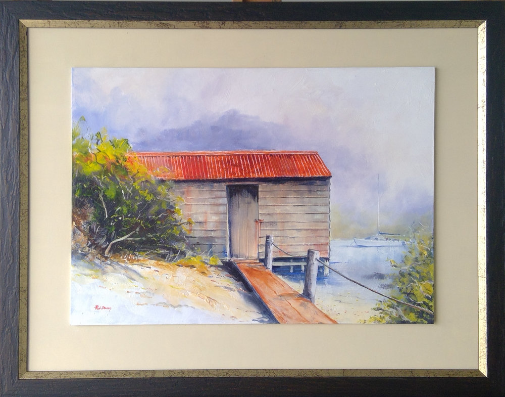 Boatsheds at Whangateau   Paul Deacon, oils on board, framed,   enquire