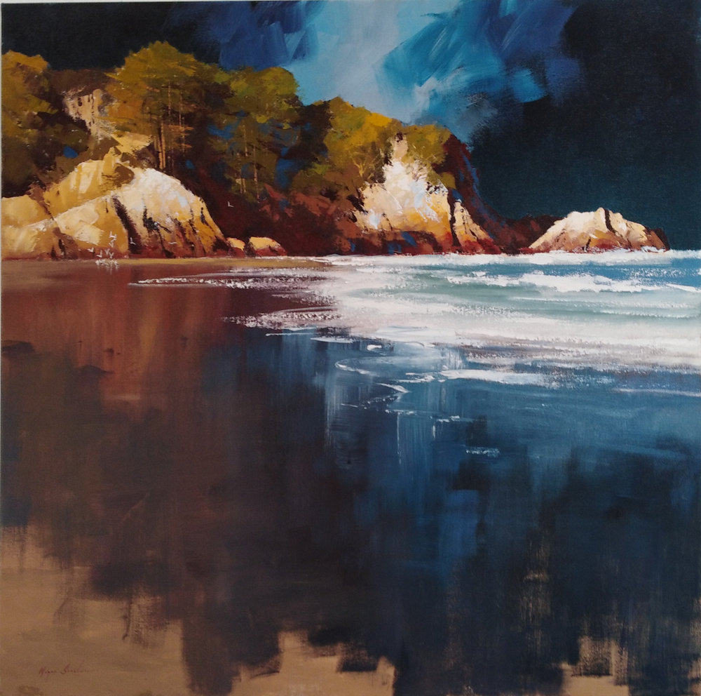 Coastal Light  Wayne Sinclair, oils on canvas, 910mm x 910mm  sold