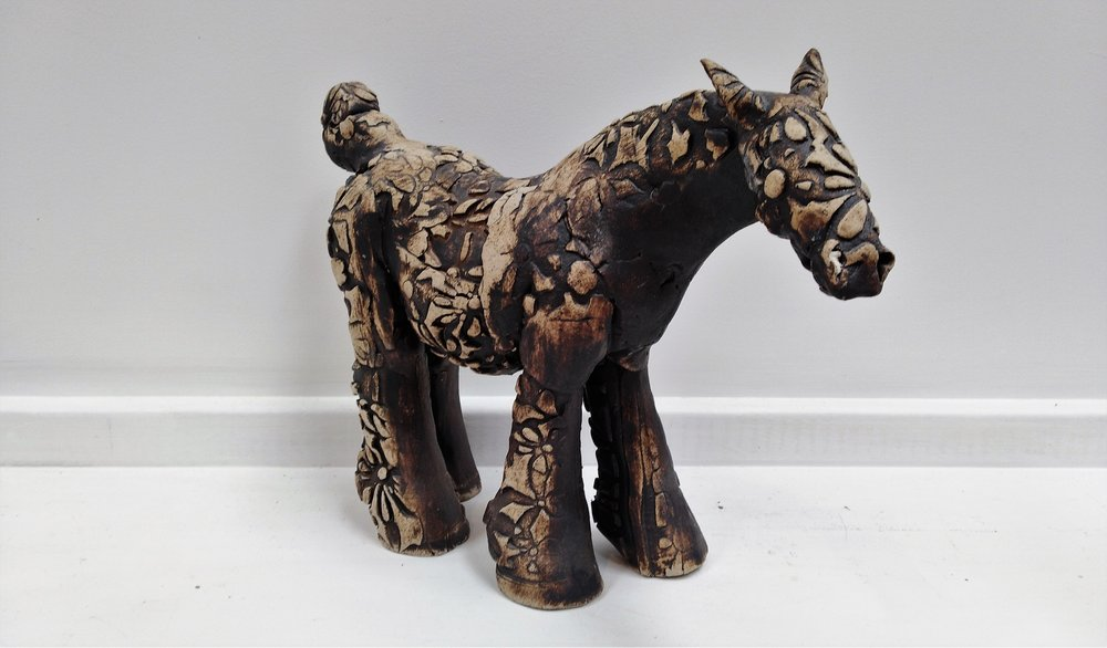 Flower Stamp Horse  Fiona Tunnicliffe, hand-formed ceramic sculpture,   $290.00
