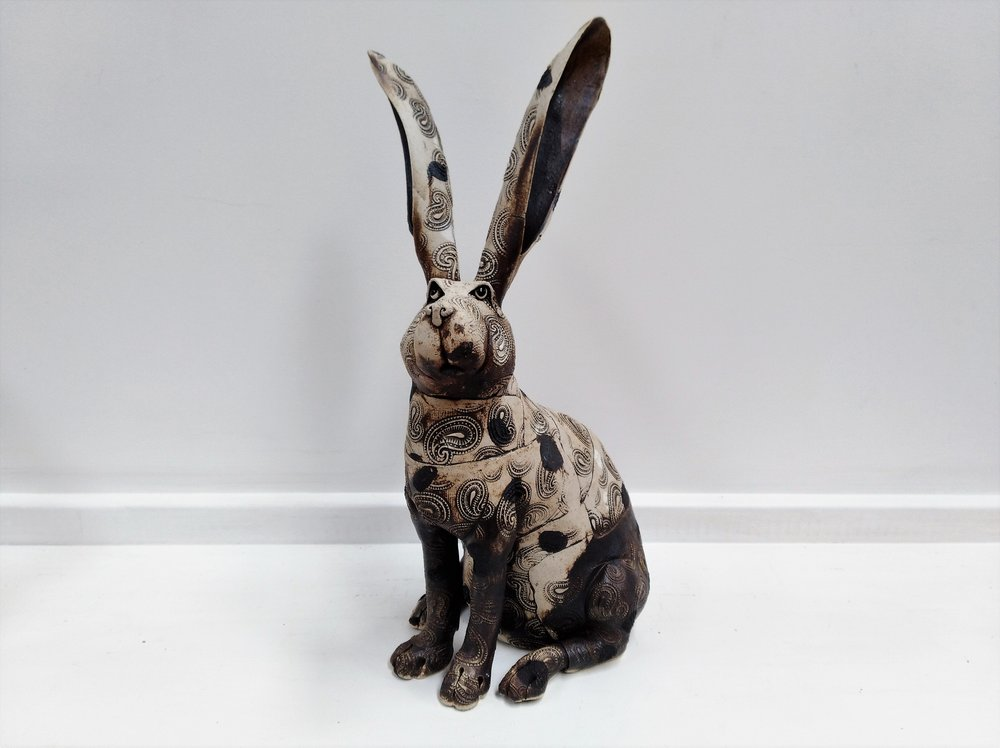 Chonky Hare  Fiona Tunnicliffe, hand-formed ceramic sculpture,  $350.00