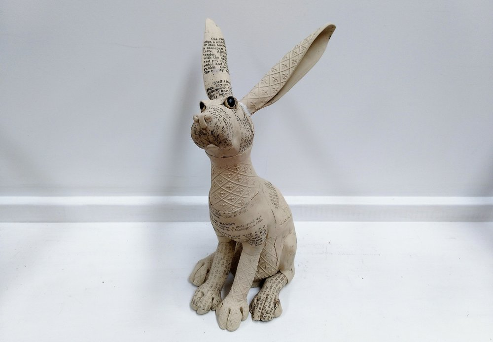 Large Recipe Rabbit  Fiona Tunnicliffe, hand-formed ceramic sculpture,  $350.00