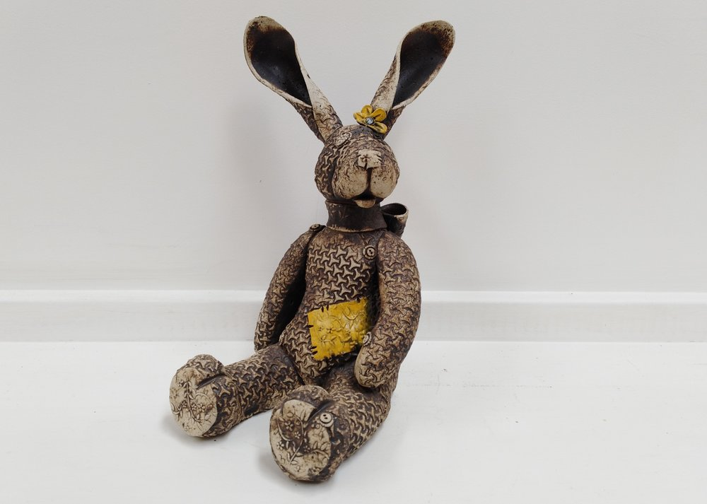 Rabbit Teddy  Fiona Tunnicliffe, hand-formed ceramic sculpture,  sold