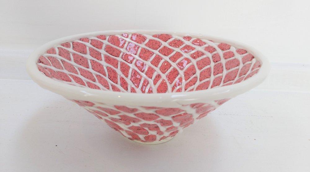 Pink & Cream Bowl  Tom Sommerville, glazed and fired ceramic  $195.00