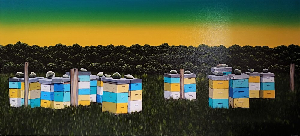 Beehives  Donna Massey, oils on canvas, 1500mm x 650mm  $2,400.00
