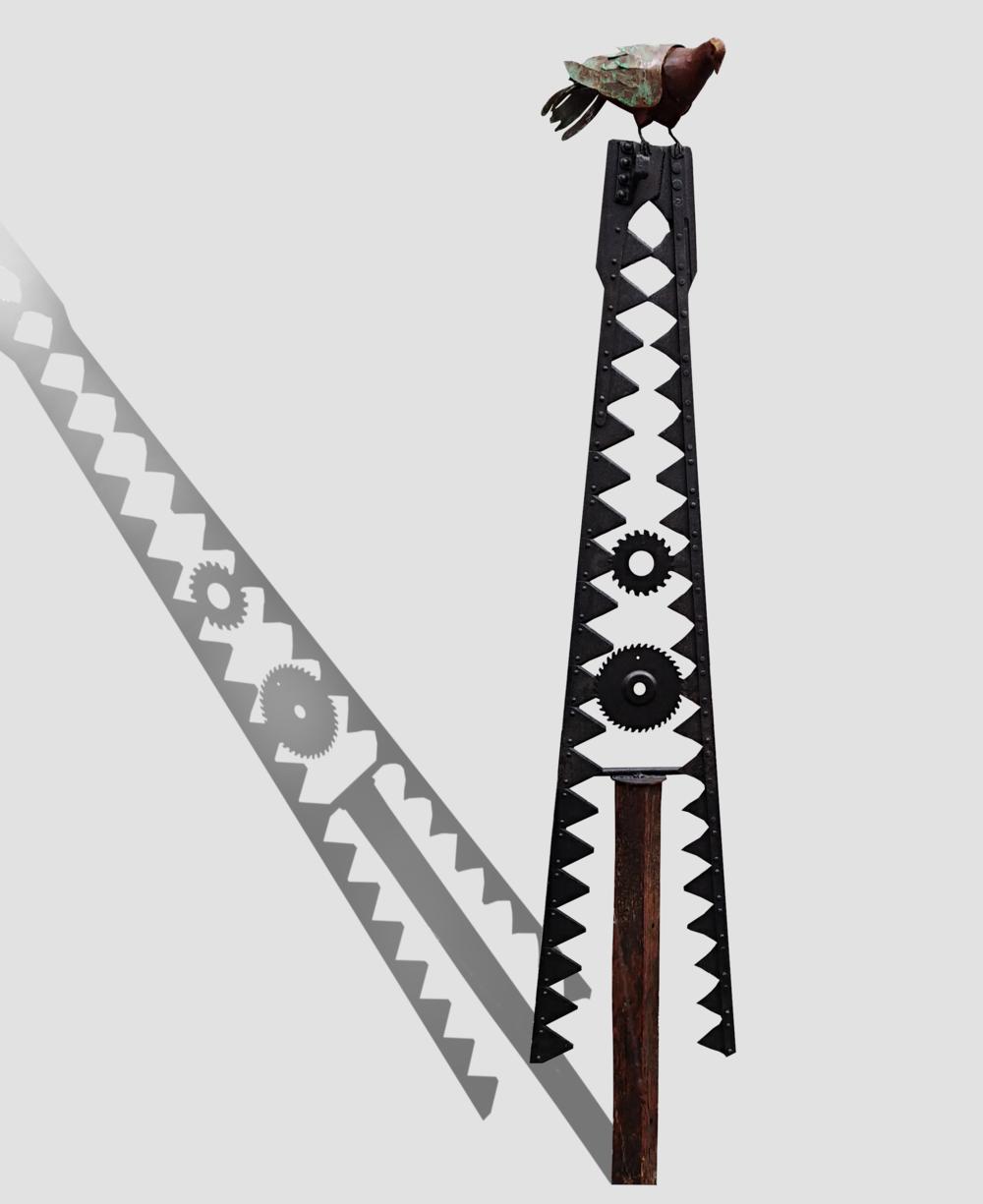 Kereru on Cutter Blades  Mark Dimock, steel & wood outdoor sculpture  $1,050.00