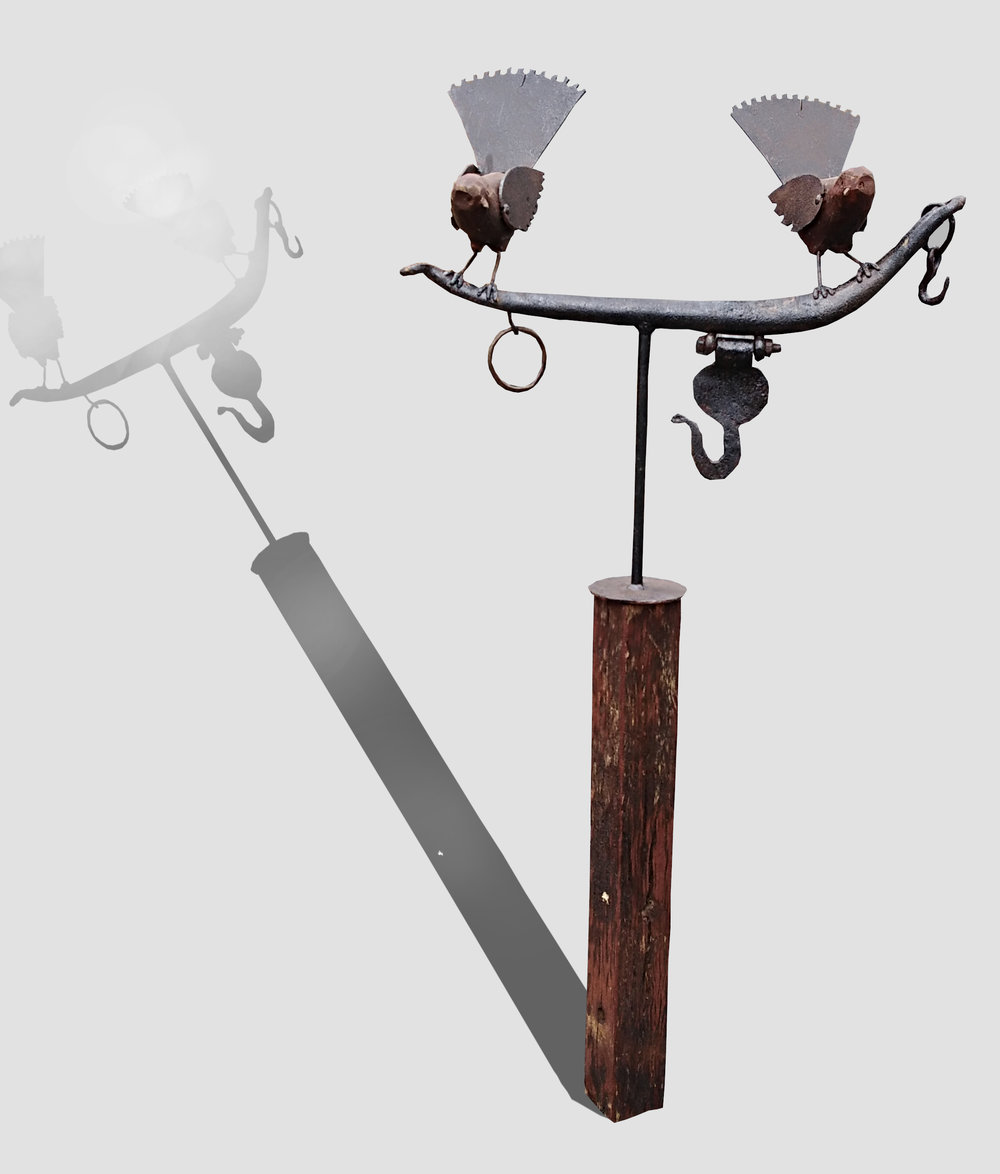 Double Fantail on Ham  Mark Dimock, steel & wood outdoor sculpture, plinth inc.  $650.00