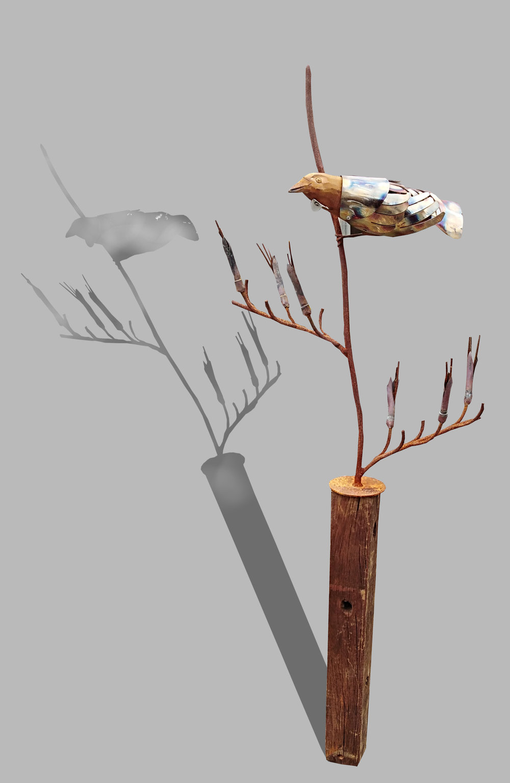 Tui on Plinth  Mark Dimock, steel & wood outdoor sculpture, plinth inc   enquire