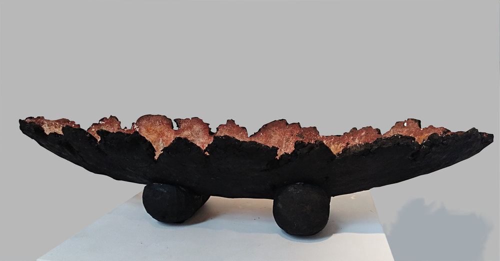 Black Jagged Vessel  John Phillips, artis fiberclay  $550.00