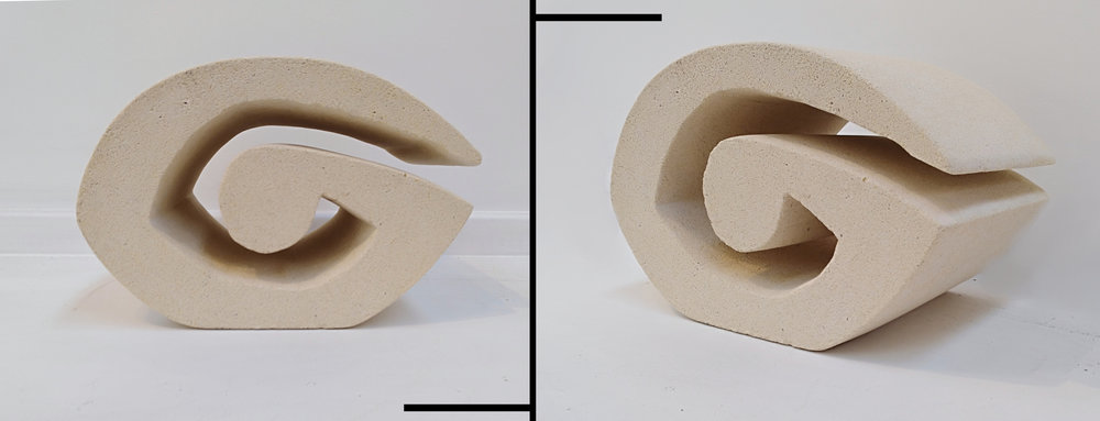 Koru  Fraser McRae, unsealed White Oamaru Limestone, indoor/outdoor (if used outdoor, we recommend sealing with a silicone or water-based stone sealant), 250mm x 170mm  $450.00