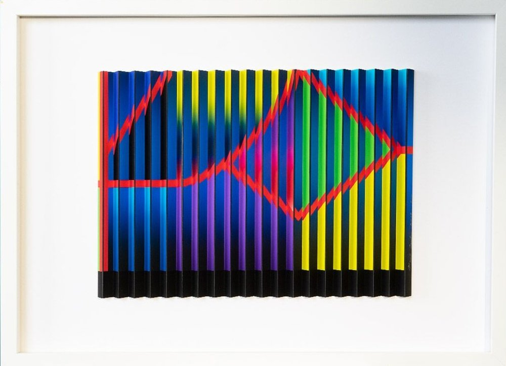 Red Stripe Series 1(d)  Mark Cowden, limited edition multiplane work, 640mm x 490mm inc frame  $890.00