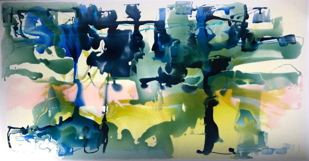 Mood Indigo  Rachel Rush, resin on canvas, blacked edges, 1700mm x 900mm  sold