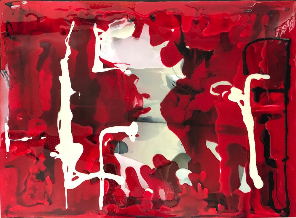 La Vie en Rose  Rachel Rush, resin on canvas, blacked edges, 1200mm x 900mm  $3,200.00