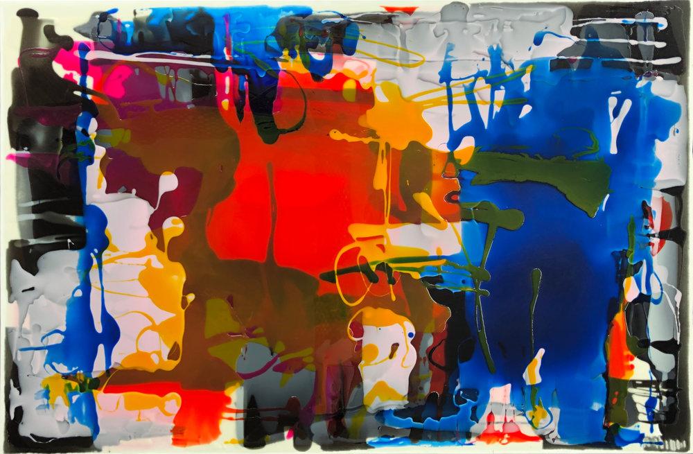 Riptide  Rachel Rush, resin on canvas, blacked edges, 1500mm x 1000mm  $2,600.00