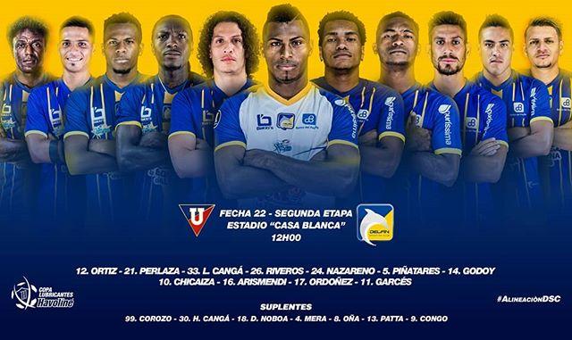 ¡VAAAAAMOS!💛💙 Así alinea el orgullo de Manabí para su duelo ante Liga de Quito.  #ElOrgulloDeManabí