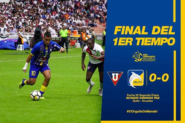 ¡MERECIMOS MÁS!  En un primer tiempo en el que merecimos más, nos vamos al camerino con un 0-0. Nos estamos clasificando a la Libertadores.  #ElOrgulloDeManabí