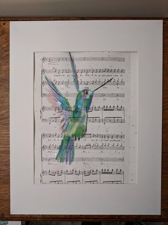 L'amour est un oiseau rebelle; watercolor on acid free paper, by Joanie Brittingham