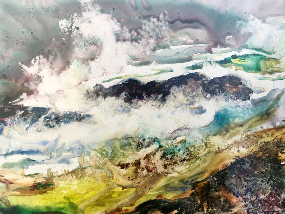 Sea Moss, Watercolor on Yupo