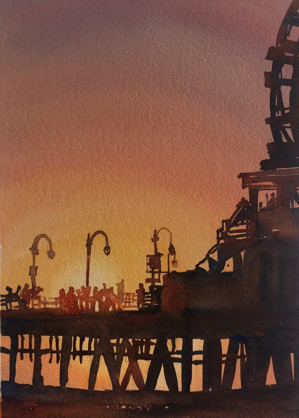 """Santa Monica Pier (11""""x14"""")"""
