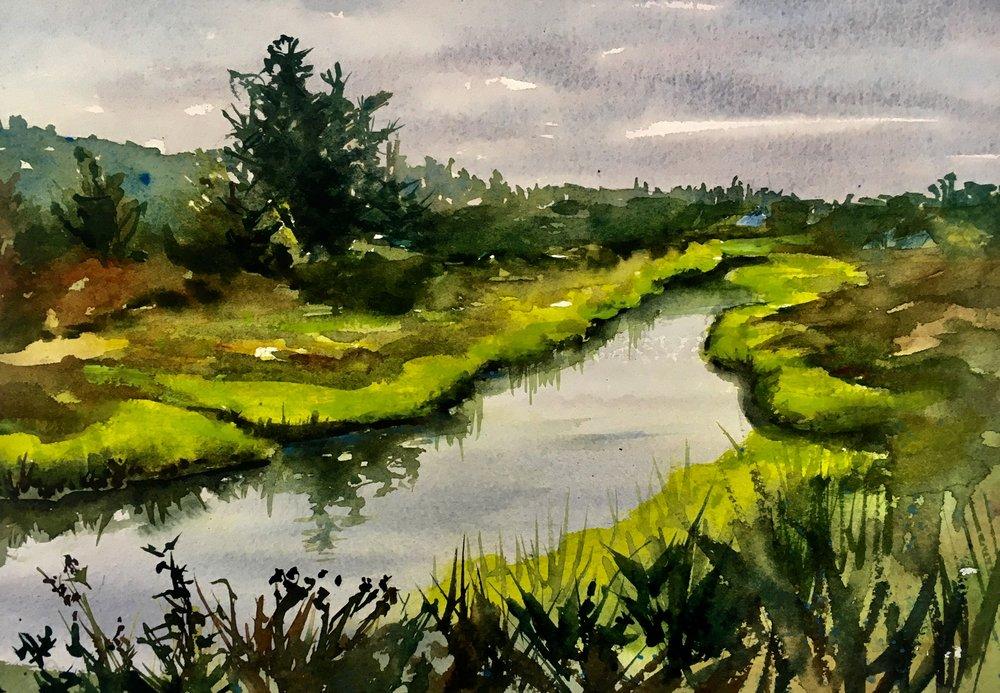 "Marsh in Maine (15""x11"")"