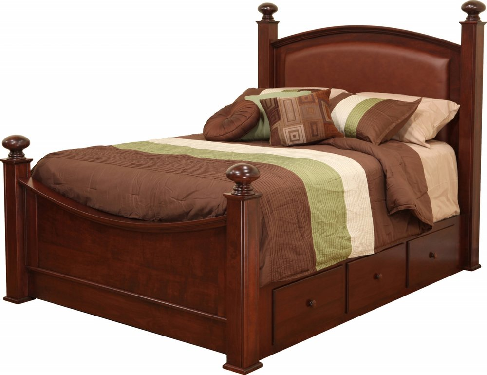 Luellen Bed with Leather Headborad