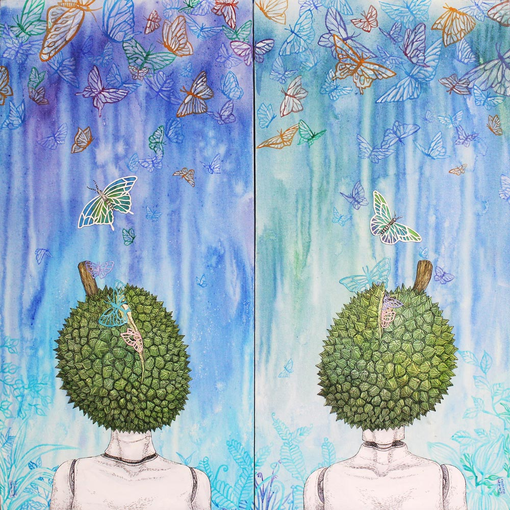 Fascination and Curiosity (diptych) , drawing and watercolour on layered hand cut acid-free paper & acrylic on canvas, 2016, private collection