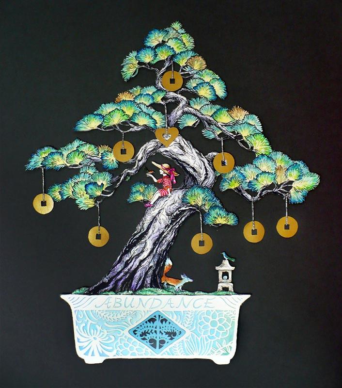 Abundance Bonsai , pen and watercolour on paper cutout, 2013, gift