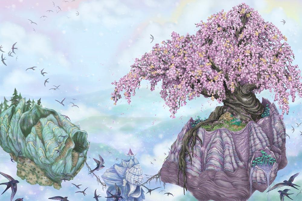 Blessed Sakura , digital illustration 22x14in, 2011, commission