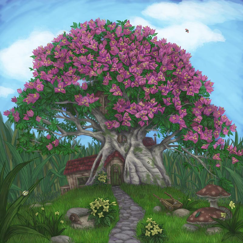 "First Bonsai , digital illustration, 10x10"", 2009, gift"
