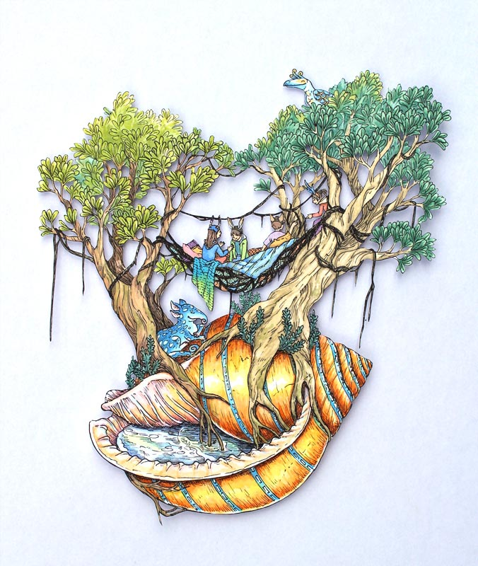 Shell Bonsai , pen and watercolour on paper cutout mounted on glass, 2014, sold