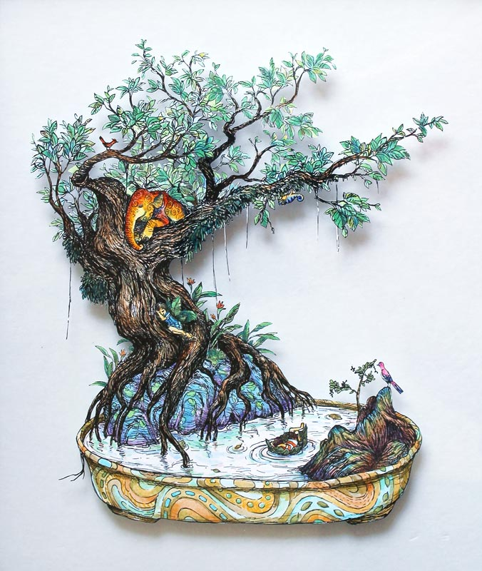 Sleeping Bonsai , pen and watercolour on paper cutout mounted on glass, 2012-2013, sold