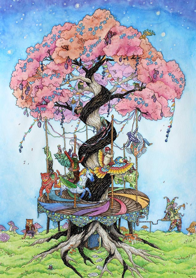 The Carousel Tree , pigment marker and watercolour on A3 watercolour paper, 2014, sold