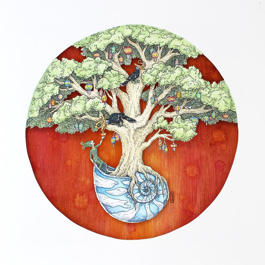 Tree of Light (the gift) , Faber-Castell PITT pen and watercolour on layered paper cutout & acrylic on wood, 30x30cm 2016, gift
