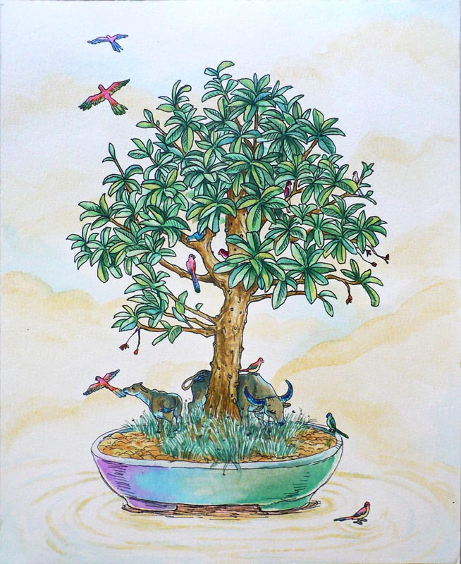 Young Bonsai , pigment marker and watercolour on A5 watercolour paper, 2009-2012, sold